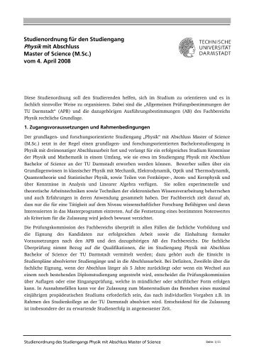 Studienordnung, gültig ab 01.10.2008 - Fachbereich Physik