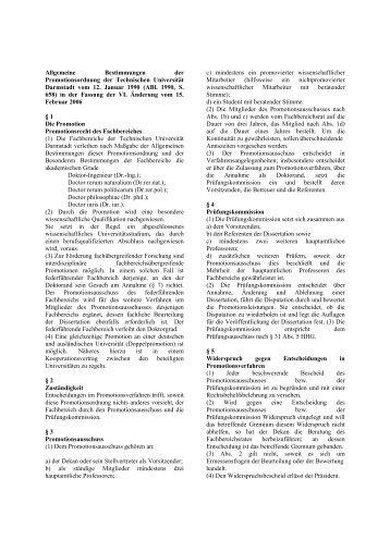 Promotionsordnung - Fachbereich Physik - Technische Universität ...