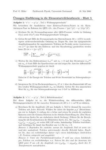 ¨Ubungen Einführung in die Elementarteilchentheorie - Blatt 5