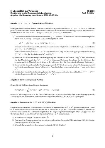 9. Übungsblatt zur Vorlesung SS 2009 Einführung in die ...