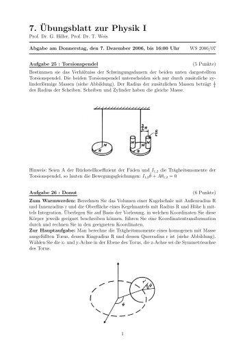 7.¨Ubungsblatt zur Physik I - bei der Fakultät Physik der TU-Dortmund
