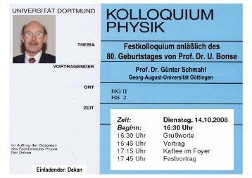 Festkolloquium anläßlich des 80. Geburtstages von Prof. Dr. U. Bonse