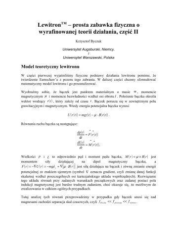 LewitronTM – prosta zabawka fizyczna o wyrafinowanej teoriii dz