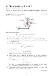 9.¨Ubungsblatt zur Physik I