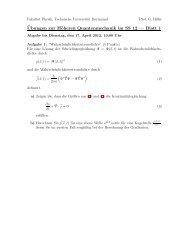¨Ubungen zur Höheren Quantenmechanik im SS 12 — Blatt 1