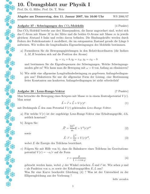 10.¨Ubungsblatt zur Physik I