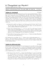 6.¨Ubungsblatt zur Physik I