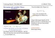 Bewegung mit variabler Masse vv v = mg Gas M v vvv = v Vakuum