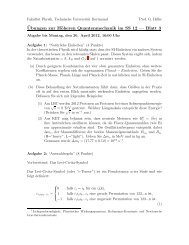 ¨Ubungen zur Höheren Quantenmechanik im SS 12 — Blatt 3