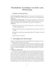 Physikalische Grundlagen von Solar- und Windenergie