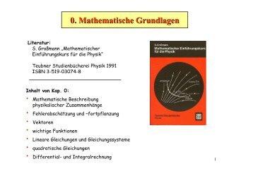 0. Mathematische Grundlagen Literatur
