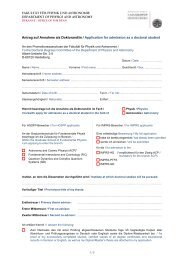 Antrag auf Annahme als Doktorand/in / Application for admission as ...