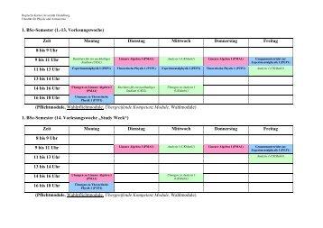 1. BSc-Semester (1.-13. Vorlesungswoche) - Fakultät für Physik und ...