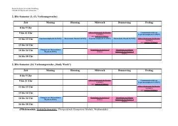 2. BSc-Semester (1.-13. Vorlesungswoche) - Fakultät für Physik und ...