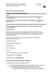 1. September 2009 Liste aller notwendigen Bewerbungsunterlagen