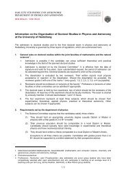 Information on the Organisation of Doctoral Studies in Physics and ...