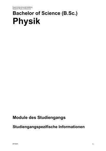 Modulhandbuch Bachelor Physik F. Eisele - Fakultät für Physik und ...