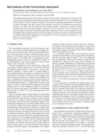 New features of the Franck-Hertz experiment - Grundpraktikum Physik