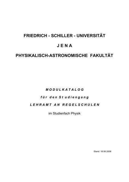Modulkatalog - Die Physikalisch-Astronomische Fakultät - Friedrich ...