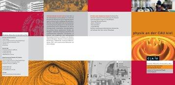 Flyer Physik - Christian-Albrechts-Universität zu Kiel