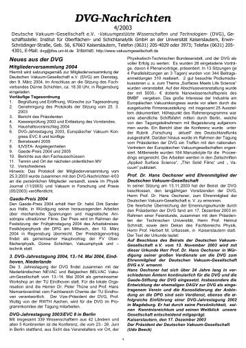 4/2003 - Fachbereich Physik der Universität Kaiserslautern