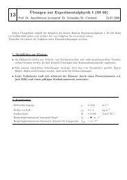 ¨Ubungen zur Experimentalphysik I (SS 06)