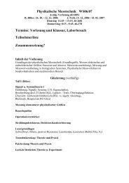 Physikalische Messtechnik WS06/07 Termine: Vorlesung und ...