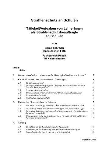 Strahlenschutz an Schulen - Fachbereich Physik der Universität ...