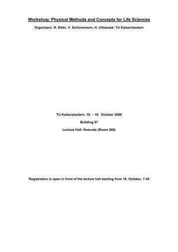 1. Sept. 2006 - Fachbereich Physik der Universität Kaiserslautern