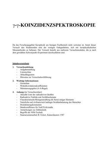 Versuchsanleitung (pdf) - Fachbereich Physik der Universität ...