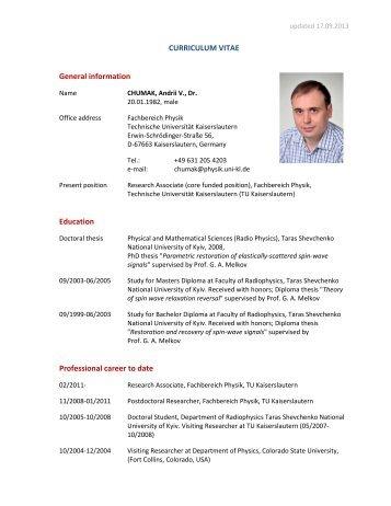 CURRICULUM VITAE General information Education Professional ...