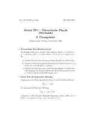 2. ¨Ubungsblatt - Institut für Theoretische Physik
