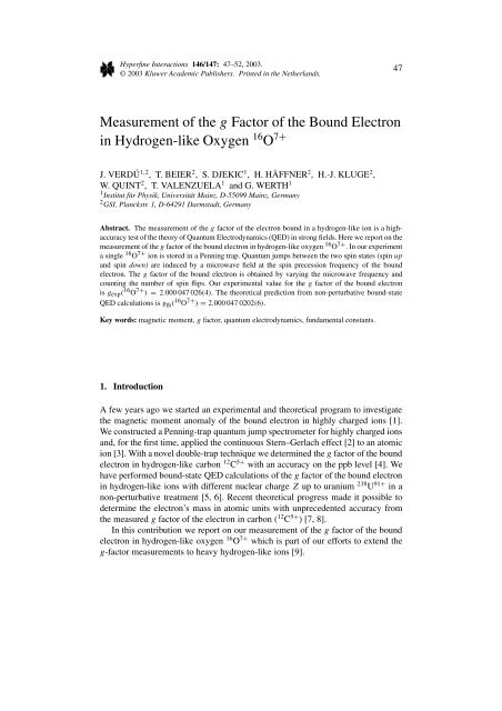 Measurement of the g Factor of the Bound Electron in Hydrogen-like ...