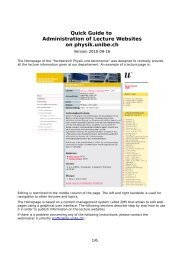 Quick Guide to Administration of Lecture Websites on physik.unibe.ch