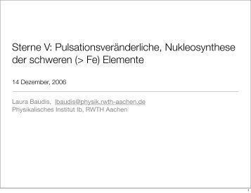 Sterne V: Pulsationsveränderliche, Nukleosynthese ... - Physik-Institut