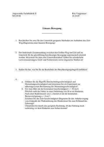 Lineare Bewegung - Didaktik der Physik!