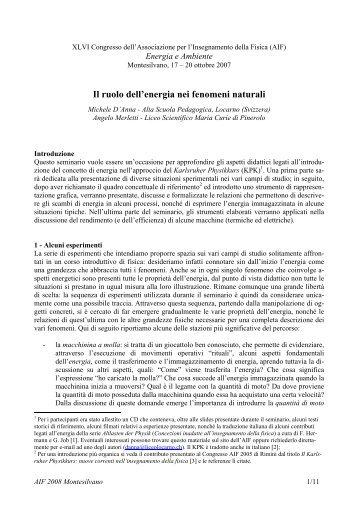 Il ruolo dell'energia nei fenomeni naturali - Abteilung für Didaktik der ...