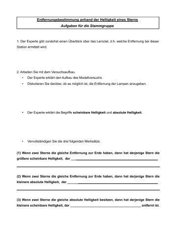 Arbeitsblatt Stammgruppe - Didaktik der Physik