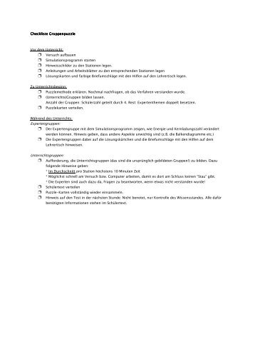 Checkliste Lernzirkel - Didaktik der Physik
