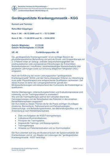 Ausführliche Kursbeschreibung mit Infos zur ... - Physio-Verband