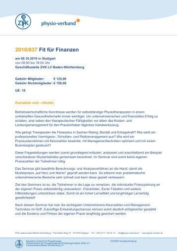 2010/837 Fit für Finanzen - Physio-Verband