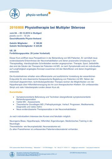 2010/808 Physiotherapie bei Multipler Sklerose - Physio-Verband