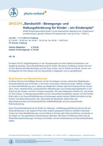 2012-274 Bandschi Kursbeschreibung - Physio-Verband