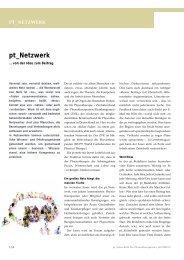 pt_Netzwerk - Zeitschrift für Physiotherapeuten