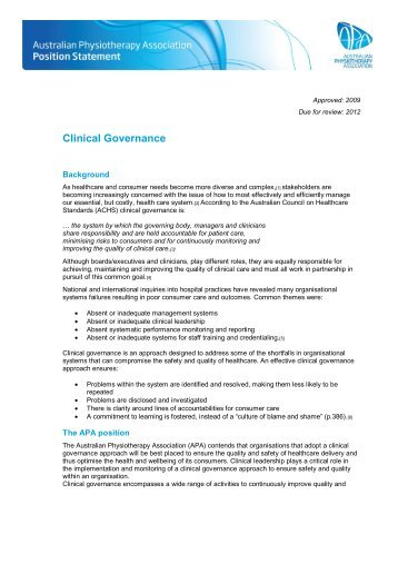 Clinical Governance - Australian Physiotherapy Association