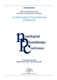 1st Neurological Physiotherapy Conference - Australian ...