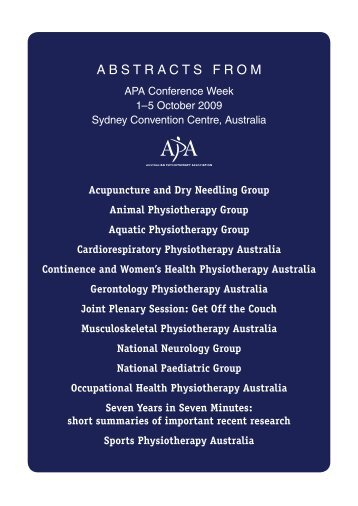 2009 APA Conference Week Abstracts - Australian Physiotherapy ...