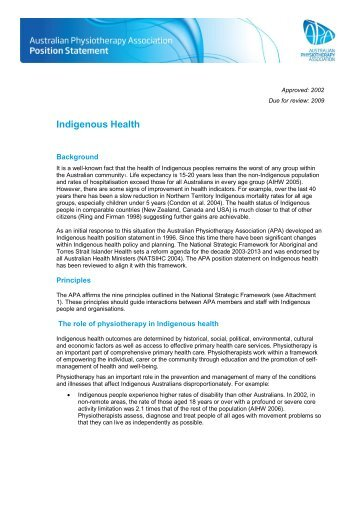 Indigenous Health - Australian Physiotherapy Association