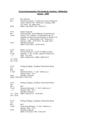 Januar 2005 - Fachbereich Physik