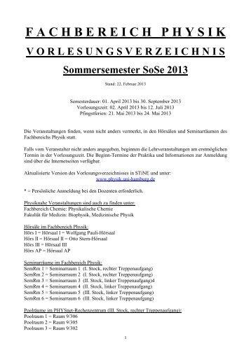Vorlesungsverzeichnis (pdf) - Fachbereich Physik - Universität ...